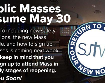 Public Masses Resume May 30